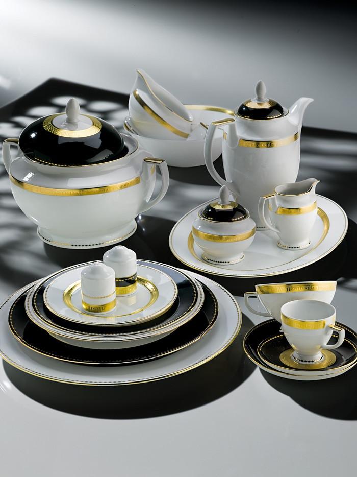 Фарфоровый сервиз на 12 персон Black&White