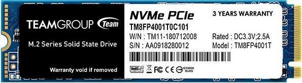 Team Group TM8FP4001T0C101 SSD-накопитель  MP34 1Tb, M.2, NVMe 1.3, 3000/2600 MB/s