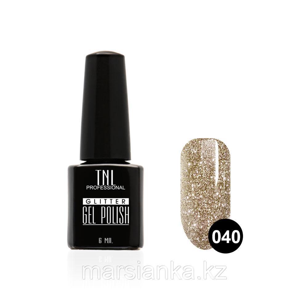 Гель-лак TNL GLITTER #40 Серебрянный с разноцветными блестками, 6мл