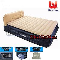 Двухместная надувная кровать Bestway 67483, Soft-Back Elevated Queen, 226x152x74 см, с насосом , фото 1