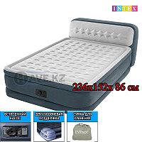 Надувной матрас-кровать, Headboard Airbed, intex 64448, размер 236x152x 86 см, с насосом, фото 1