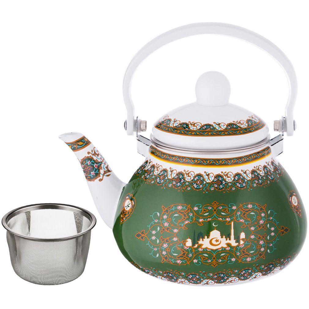 Чайник эмалированный Agness с фильтром из нжс. 1,3 л