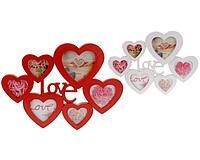 Фоторамка из 6 рамок в дизайне сердца, 5*37*2,5 см, 2 цвета в ассорт., K