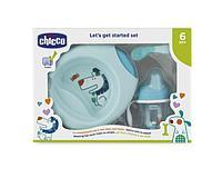 Chicco: Набор детской посуды (тарелка, ложка, поильник) 6м+, голубой