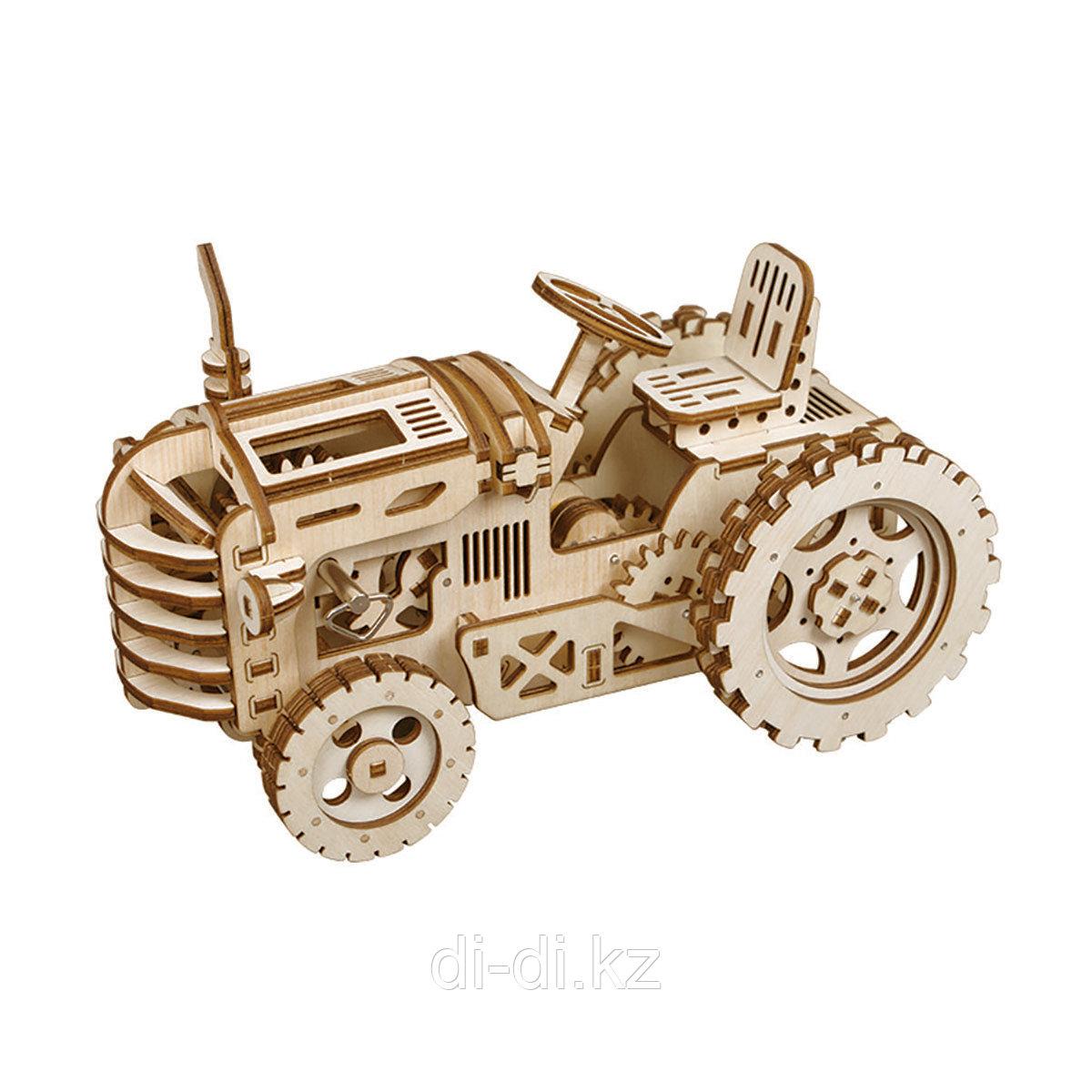 Деревянный 3D конструктор Robotime Трактор - фото 1