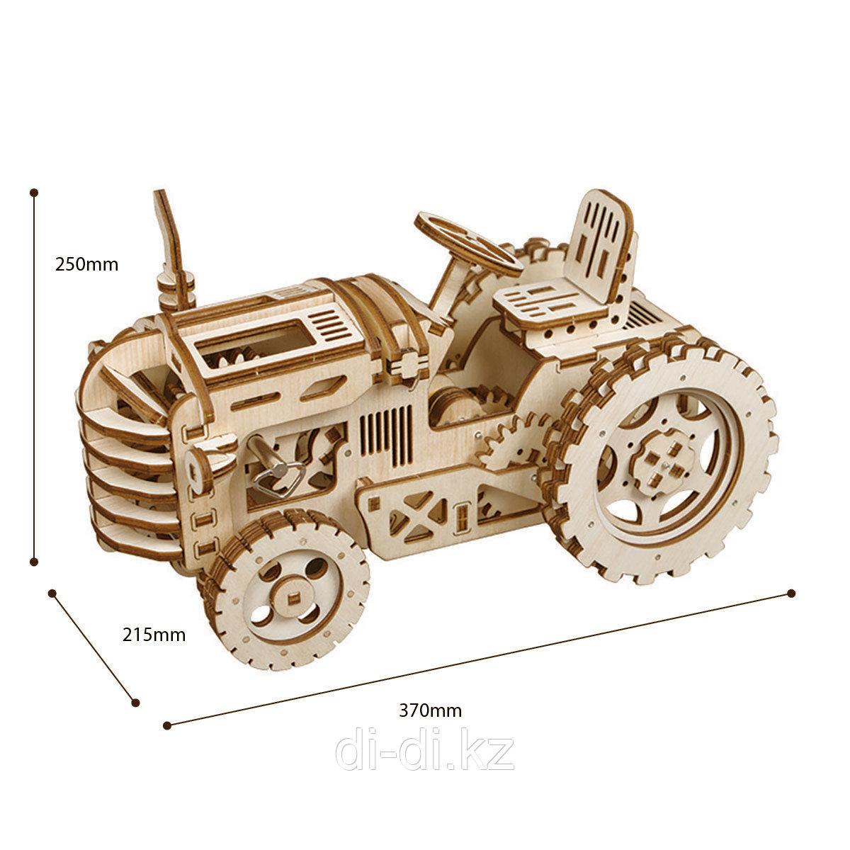 Деревянный 3D конструктор Robotime Трактор - фото 3