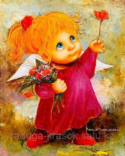 """Картина по номерам """"Солнечный ангел - Тебе цветочек"""""""