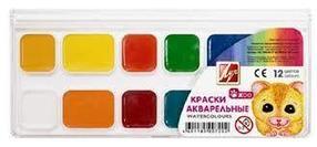 Акварель медовая 12 цветов, ZOO, Луч