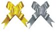 Бант-бабочка, 2 штуки в PP пакете с подвесом, размер 18 х 450 мм, цвета золотой, серебряный,