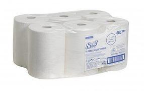 Бумажные полотенца в рулонах Scott Slimroll белые однослойные 6 рулонов по 165 метров