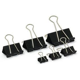 Зажимы для бумаг 19 мм, металлические, черные, 12 штук в упаковке Binder Clips