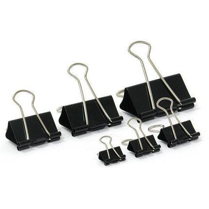 Зажимы для бумаг 19 мм, металлические, черные, 12 штук в упаковке Binder Clips, фото 2