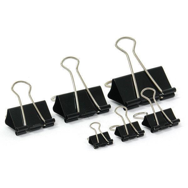 Зажимы для бумаг 51 мм, металлические, черные, 12 штук в упаковке Binder Clips