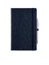 ЗАПИСНАЯ КНИЖКА  13,5 x 21 cm. с ручкой на резиночке синий куагуле