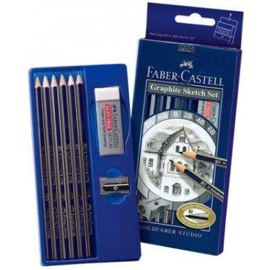 Карандаш чернографитовый, твердость  HB,2Н, В,2В,4В,6В, 6 шт, с ластиком и точилкой, Faber-Castell