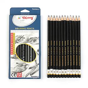 Набор карандашей чернографитных, 12 шт., Yalong HB-5H, гранённые, заточенные, в картонной коробке