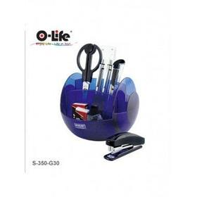 Набор настольный 9 предметов, крутящийся, пластик, синий O-Life