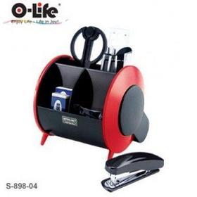 Набор настольный 9 предметов, пластик, красный/черный O-Life