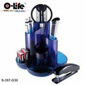 Набор настольный 9 предметов, пластик, синий O-Life