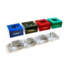 Подставка для скрепок, 41x68x12мм, магнитная, квадратная+ скрепки