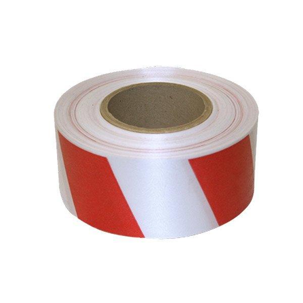 Предупреждающая лента, цвет бело-красная, ширина 50 мм., длина 100 м.