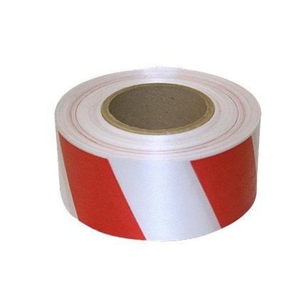 Предупреждающая лента, цвет бело-красная, ширина 50 мм., длина 100 м., фото 2