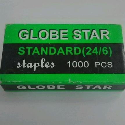 Скобы Globе Star для степлера №24/6, 1-30л, 1000шт, оцинкованные, фото 2