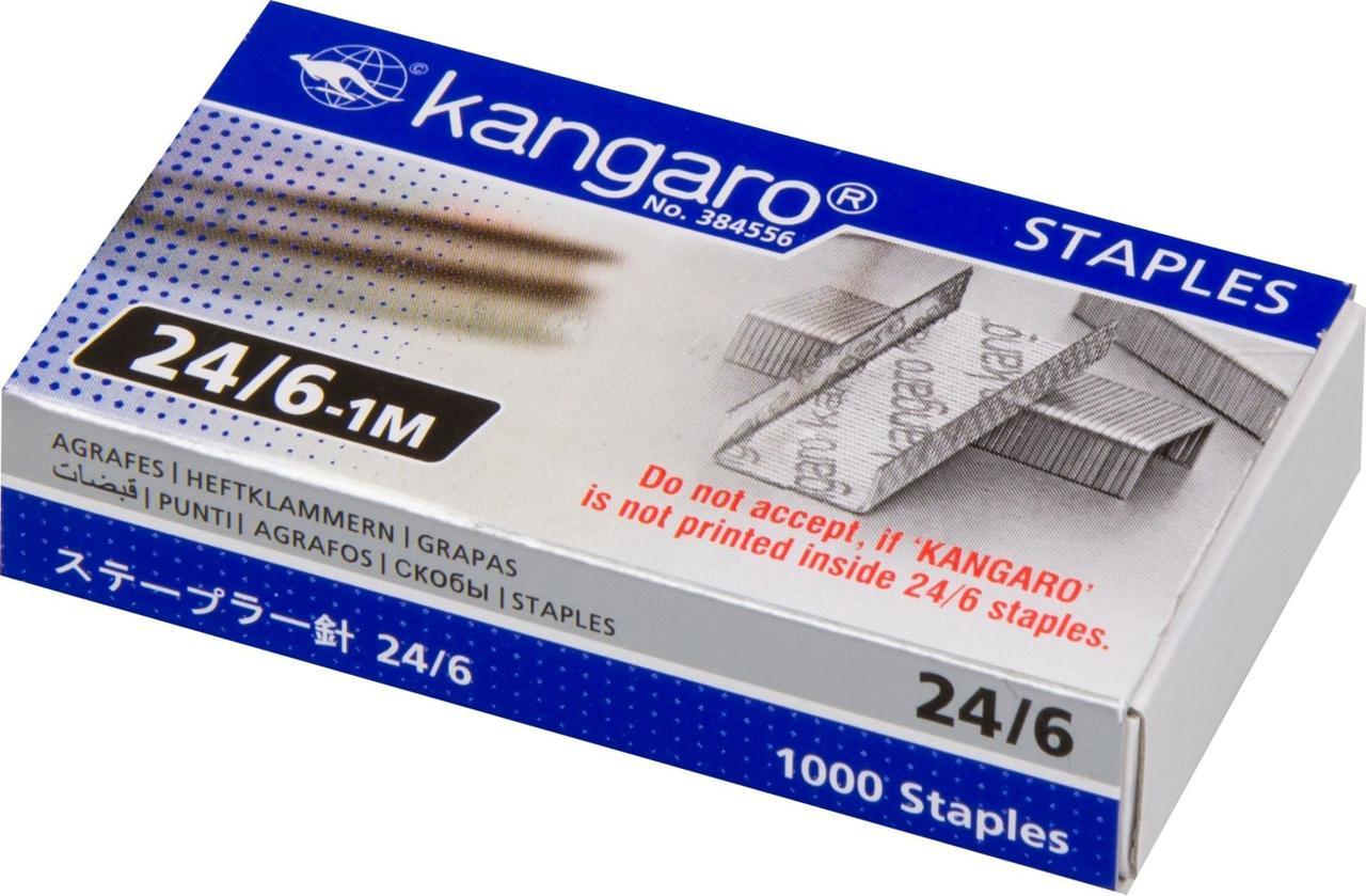 Скобы Kangaro для степлера №24/6, 1-30л, 1000шт, оцинкованные