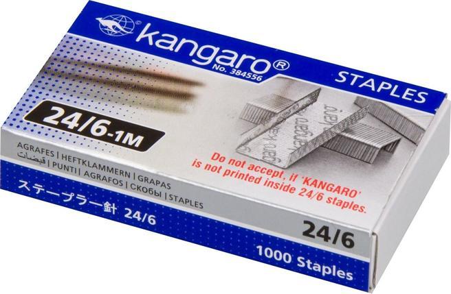 Скобы Kangaro для степлера №24/6, 1-30л, 1000шт, оцинкованные, фото 2
