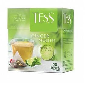 Чай Tess Ginger Mojito, зеленый фруктовый, 20 пирамидок