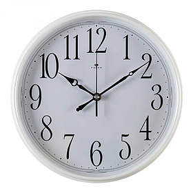 """Часы настенные, пластиковые, диаметр 29см, корпус белый """"Классика"""""""