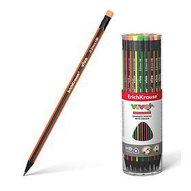 Чернографитный трехгранный карандаш с ластиком ErichKrause® VIVO HB (в тубусе по 42 шт.)
