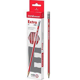 Чернографитный шестигранный карандаш с ластиком ErichKrause® Extra HB