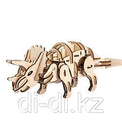 Деревянный 3D конструктор Robotime Динозавр Трицератопс