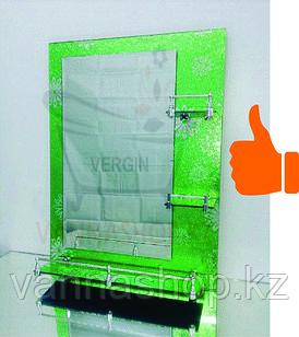 Зеркало настенное для ванной комнаты (Зеленый со стразами)