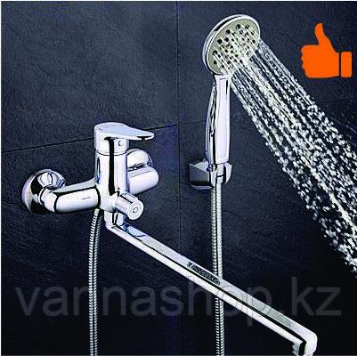 Однорычажный смеситель для ванны с длинным изливом (матовый)