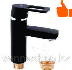 Однорычажный смеситель для раковины (литой, гаечный) черного цвета