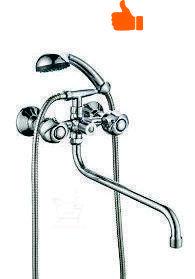 Смеситель двухвентильный для ванны с длинным изливом