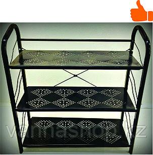 Этажерка для обуви металлическая 3 полки (черная)