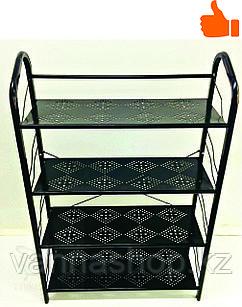 Этажерка для обуви металлическая 4 полки (черная)
