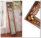 Напольное зеркало коричневого цвета в гипсовой рамке, фото 3