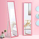 Напольное зеркало розового цвета в гипсовой рамке, фото 2