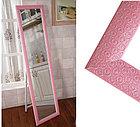 Напольное зеркало розового цвета в гипсовой рамке, фото 7