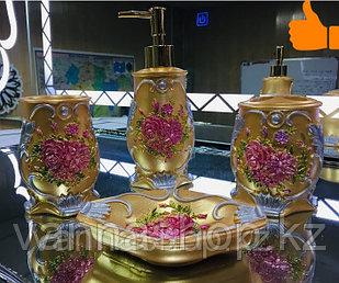Фарфоровый набор для ванной (золотистый)
