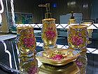 Фарфоровый набор для ванной (золотистый), фото 3