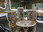 Фарфоровый набор для ванной (золотисто-бежевый), фото 4