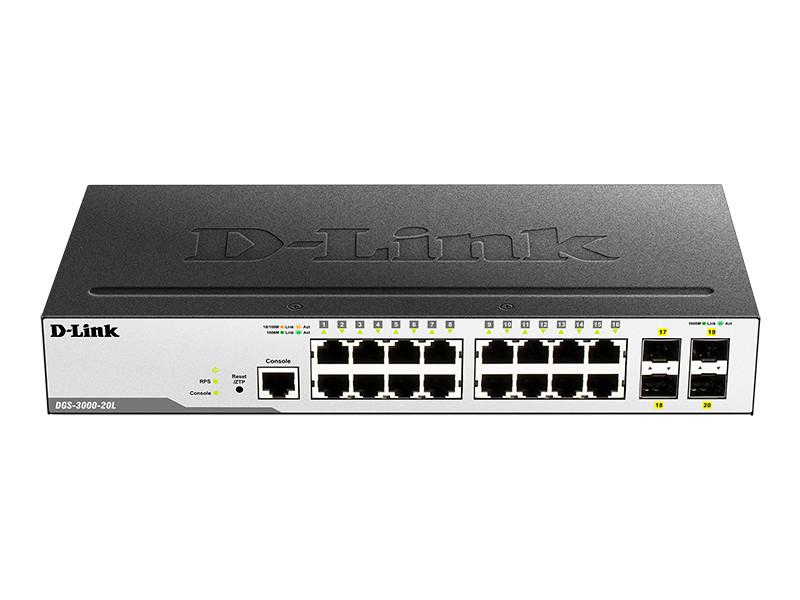 D-link DGS-3000-20L/B  Управляемый коммутатор 2 уровня с 16 портами 10/100/1000Base-T и 4 портами 1000Base-X S