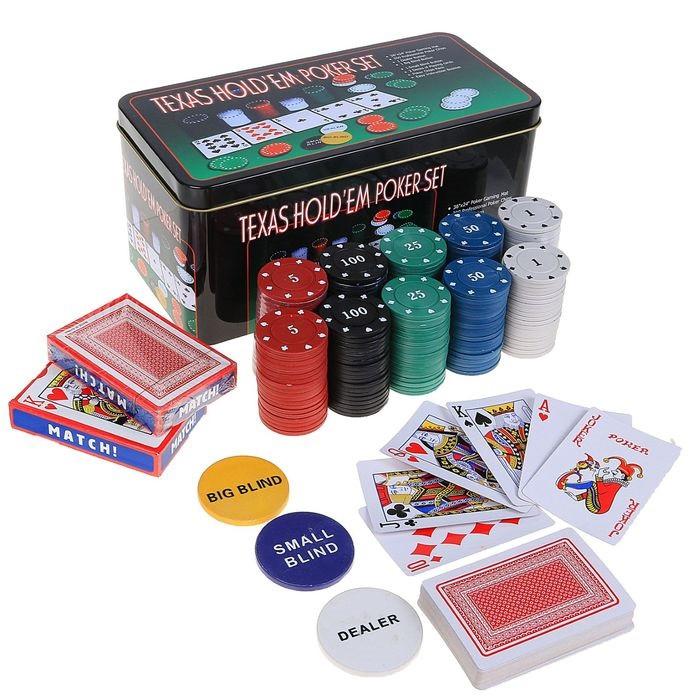 Набор для покера Poker set: карты 2 колоды, фишки 200 шт, сукно 60х90