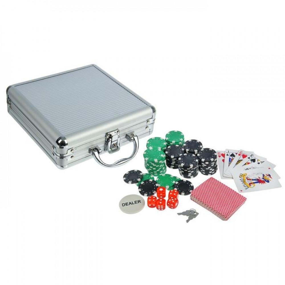 Набор для покера Poker set: карты 2 колоды, фишки 100 шт, 5 кубиков