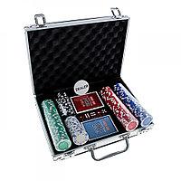 Набор для покера Poker set: карты 2 колоды, фишки 200 шт, 5 кубиков